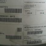 товарная этикетка на бочке с маслом A 000 989 83 01